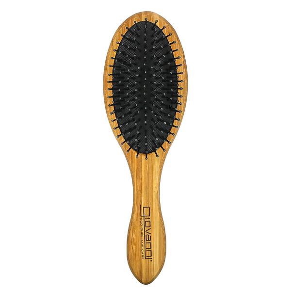 Cepillo para el cabello ovalado de bambú, 1 cepillo