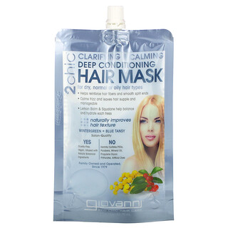 Giovanni, 2chic, Clarifying & Calming, Deep Conditioning Hair Mask, For Dry, Normal or Oily Hair Types, Wintergreen + Blue Tansy, 1 Packet, 1.75 fl oz (51.75 ml)
