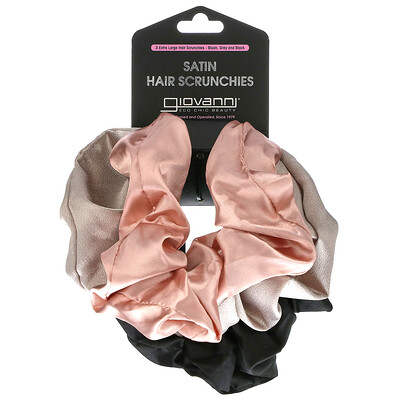 Giovanni Satin Hair Scrunches, Extra Large, Blush, Gray and Black, 3 Pack