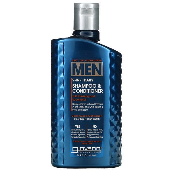 Art Of Giovanni, Men 2-In-1 Daily Shampoo & Conditioner with Ginseng and Eucalyptus, 16.9 fl oz (499 ml)