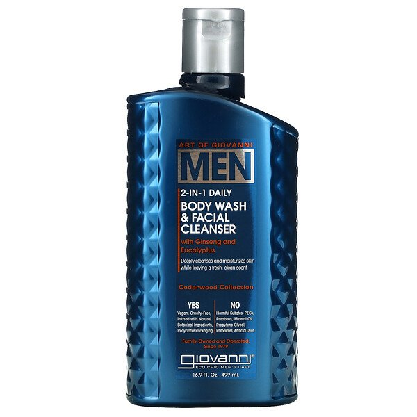 Art Of Giovanni, Men 2-In-1 Daily Body Wash & Facial Cleanser with Ginseng and Eucalyptus, 16.9 fl oz (499 ml)