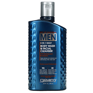 Giovanni, Art Of Giovanni, Men 2-In-1 Daily Body Wash & Facial Cleanser with Ginseng and Eucalyptus, 16.9 fl oz (499 ml)
