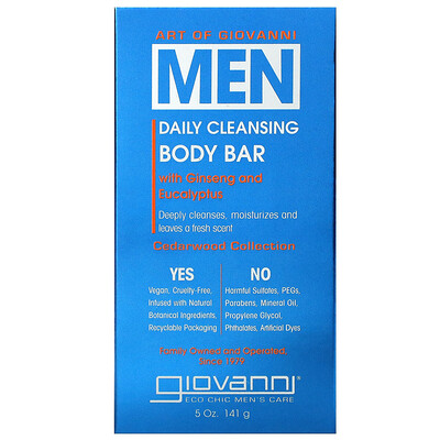 Art Of Giovanni, Men Daily Cleansing Body Bar with Ginseng and Eucalyptus, 5 oz (141 g)