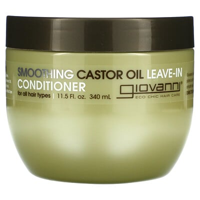Giovanni Smoothing Castor Oil Leave-In Conditioner, For All Hair Types, 11.5 fl oz (340 ml)