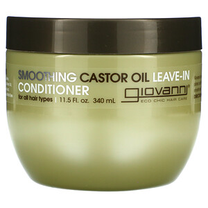 Giovanni, Smoothing Castor Oil Leave-In Conditioner, For All Hair Types, 11.5 fl oz (340 ml)