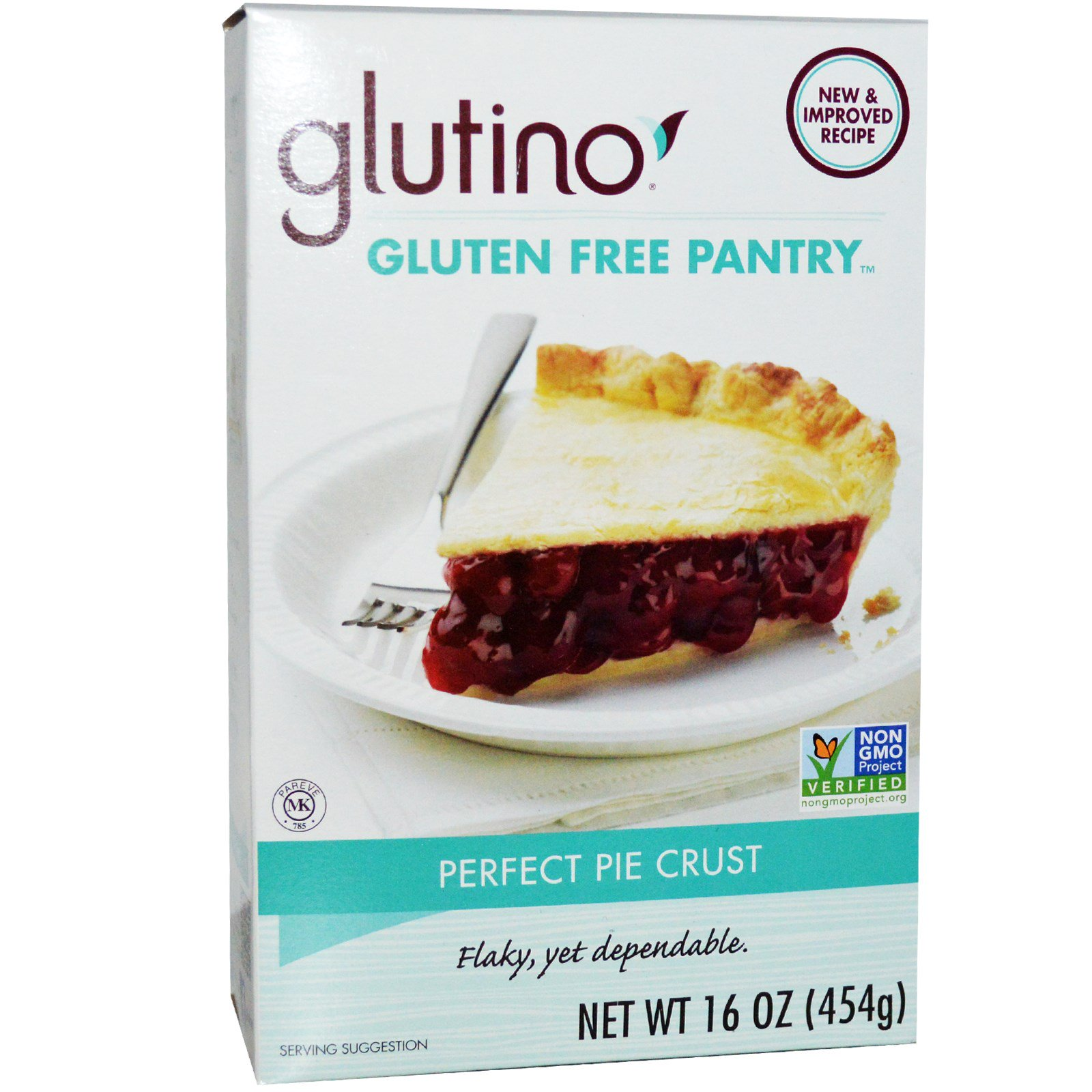 Glutino gluten free pantry perfect pie crust mix 16-ounce boxes.