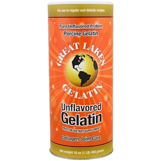 Great Lakes Gelatin Co., Porcine Gelatin, Collagen Joint Care, Unflavored, 16 oz (454 g)