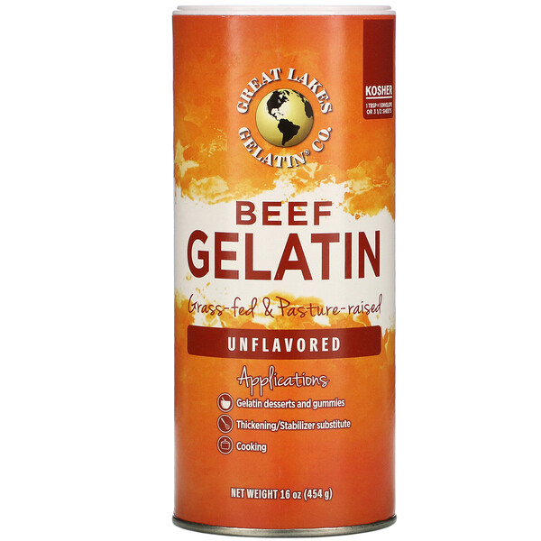 Great Lakes Gelatin Co., Beef Gelatin, Unflavored, 16 oz (454 g) (Discontinued Item)