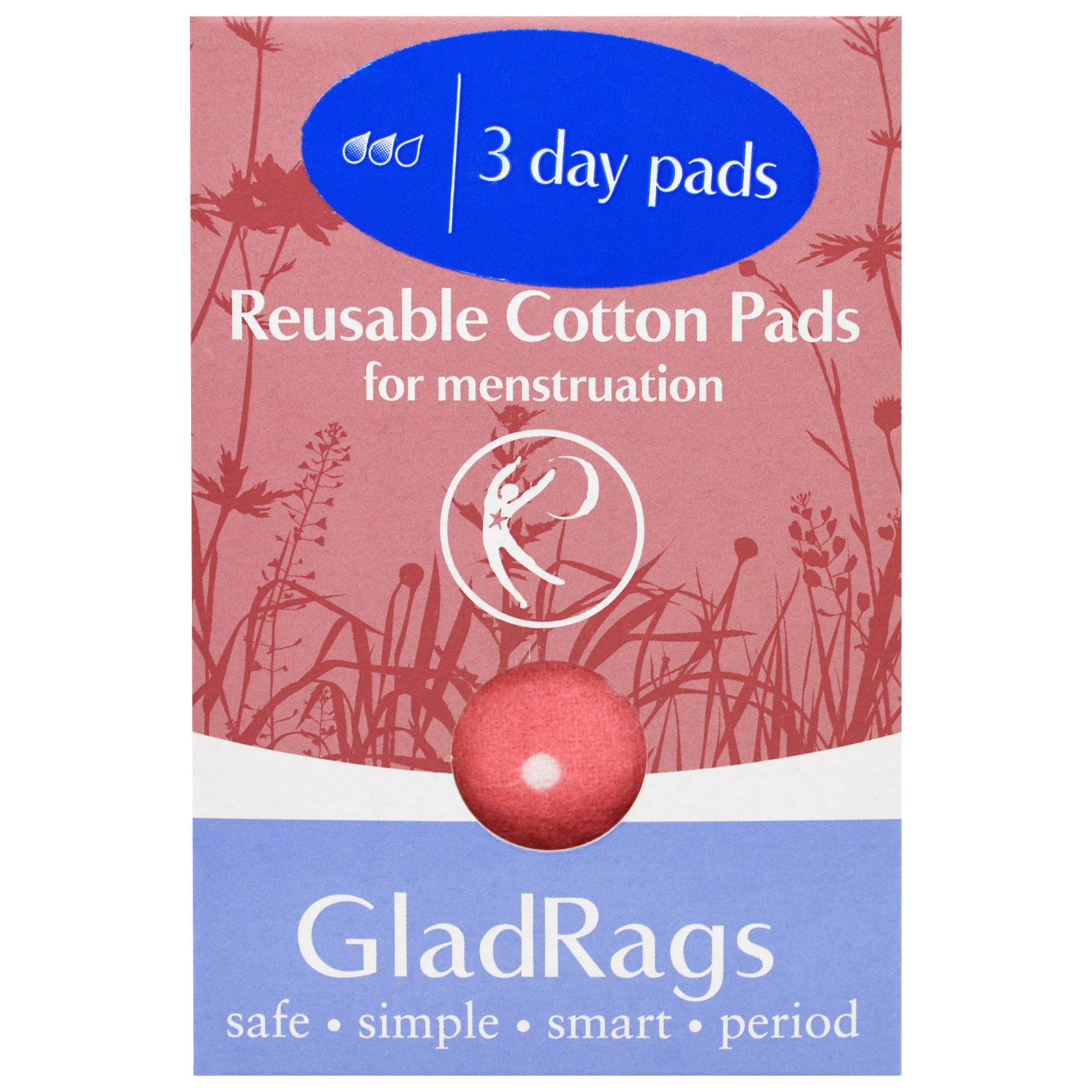 GladRags, Многоразовые хлопковые прокладки для менструации, 3 прокладки
