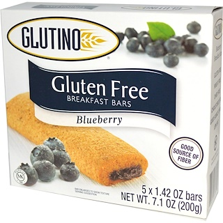 Glutino, Gluten Free Breakfast Bars, Blueberry, 5 Bars, 1.42 oz (40 g) Each