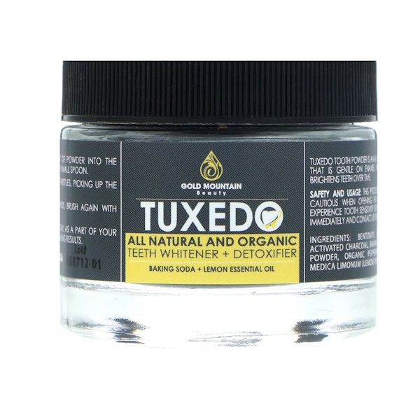 Gold Mountain Beauty, Tuxedo, All Natural and Organic Teeth Whitener + Detoxifier, Baking Soda + Lemon Essential Oil, 32 g