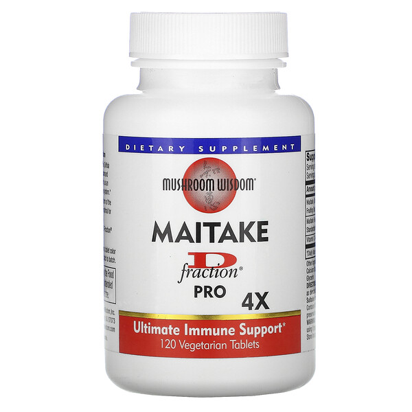Maitake D-Fraction, Pro 4X, 120 Comprimidos Vegetarianos