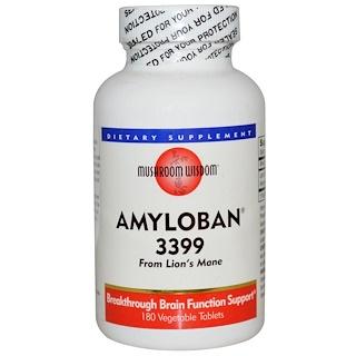 Mushroom Wisdom, Amyloban 3399, 180 comprimidos vegetais