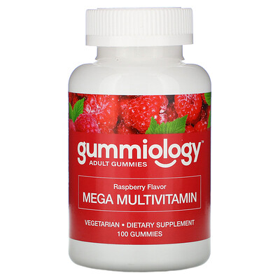 Gummiology Мега-мультивитамины для взрослых в жевательных таблетках, с натуральным вкусом малины, 100вегетарианских жевательных таблеток