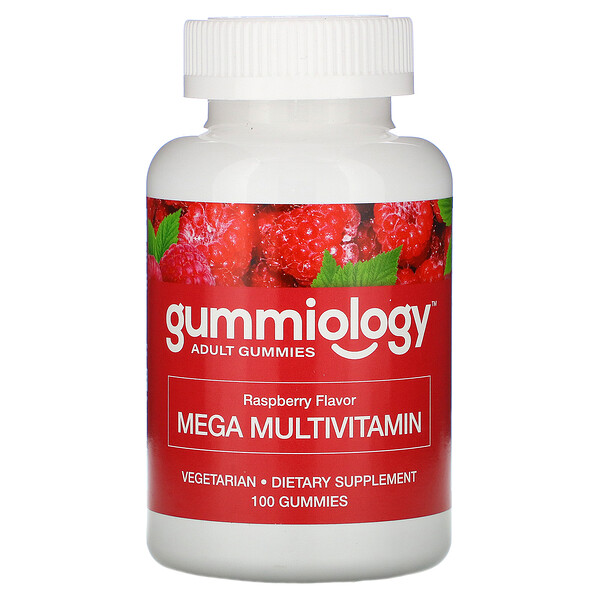 Adult Mega Multivitamins Gummies, Natural Raspberry Flavor, 100 Vegetarian Gummies