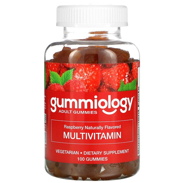 Adult Multivitamin Gummies, Natural Raspberry Flavor, 100 Vegetarian Gummies