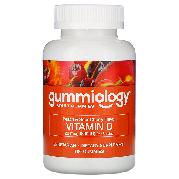 Gummiology, Adult Vitamin D3 Gummies, Natural Peach & Sour Cherry Flavors, 100 Vegetarian Gummies
