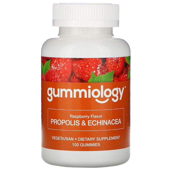 Gummiology, Adult Propolis & Echinacea Gummies, Natural Raspberry Flavor, 100 Vegetarian Gummies
