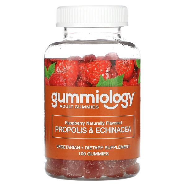 Gummiology, 成人用プロポリス&エキナセアグミ、天然ラズベリー風味、ベジグミ100粒