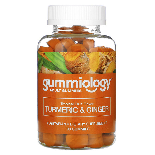 Gummiology, Adult Turmeric & Ginger Gummies, Tropical Fruit Flavors, 90 Vegetarian Gummies