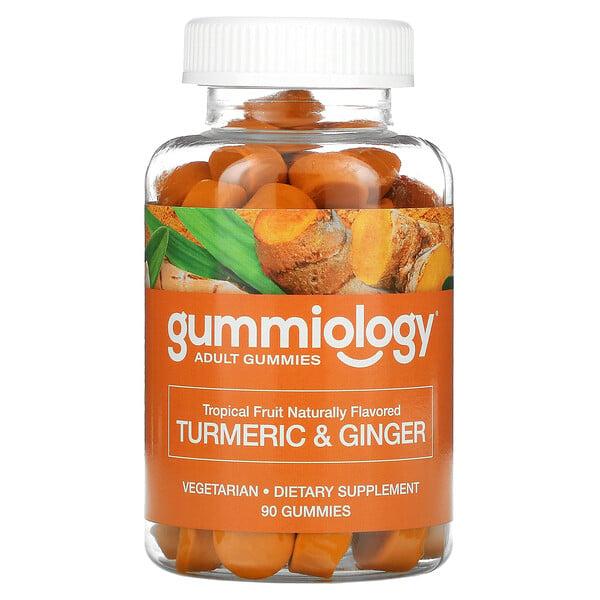 Gummiology, Adult Turmeric & Ginger Gummies, Kurkuma-Ingwer-Fruchtgummis für Erwachsene, Tropenfrüchtegeschmack, 90vegetarische Fruchtgummis