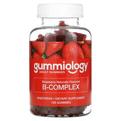 Gummiology, B Complex Gummies, No Gelatin, Natural Strawberry Flavor, 100 Vegetarian Gummies
