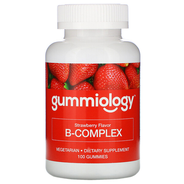 Gummiology, Adult B Complex Gummies, Natural Strawberry Flavor, 100 Vegetarian Gummies