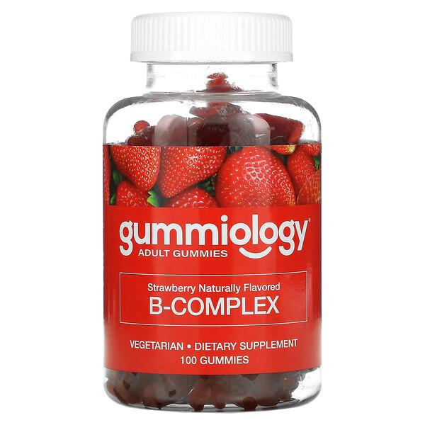 B Complex Gummies, No Gelatin, Natural Strawberry Flavor, 100 Vegetarian Gummies