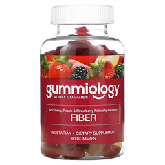 Gummiology, 食物繊維グミ、ナチュラルピーチ、ストロベリー、ブラックベリー風味、植物性グミ90粒
