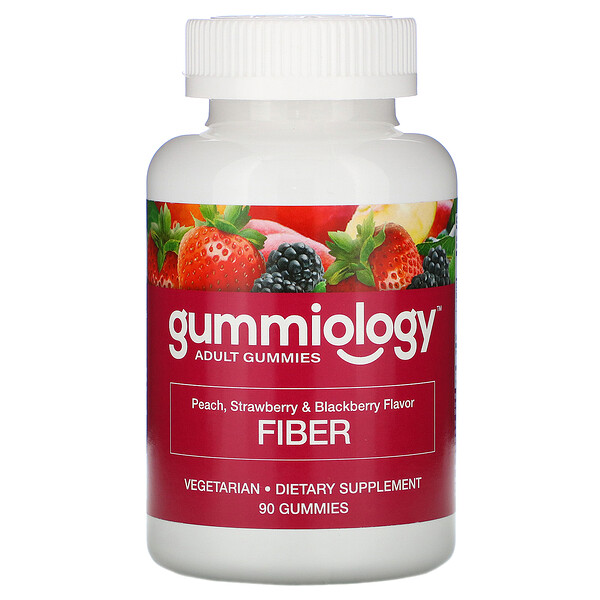 Gummiology, Adult Fiber Gummies, Natural Peach, Strawberry, & Blackberry Flavors, 90 Vegetarian Gummies