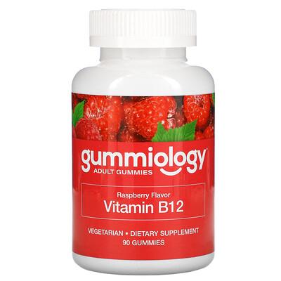 Gummiology жевательные таблетки для взрослых с витаминомВ12 со вкусом малины, 90вегетарианских жевательных таблеток