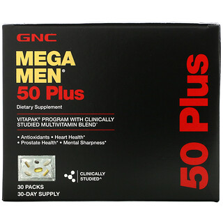 GNC, Mega Men, 50 Plus, Multivitamin, 30 Packs