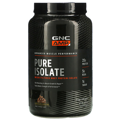 Купить GNC AMP Pure Isolate, Micro-Filtered Whey Protein, Chocolate Frosting, 2.13 lb (966 g)