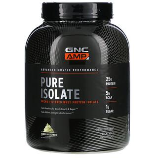 GNC, AMP, Pure Isolate, Micro-Filtered Whey Protein Isolate, Vanilla Custard, 4.94 lb (2,240 g)