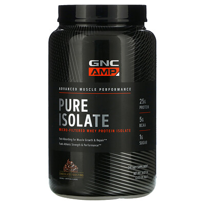 GNC AMP Pure Isolate, Micro-Filtered Whey Protein Isolate, Chocolate Frosting, 2.13 lb (966 g)