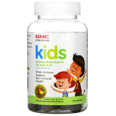 GNC Milestones, Gummy Multivitamin for Kids 2-12, Natural Assorted Fruit Flavors, 120 Gummies