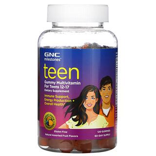 GNC, Milestones, Gommes multivitaminées, Pour les adolescents de 12 à 17ans, Fruits naturels assortis, 120gommes