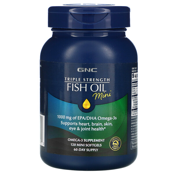 GNC, Triple Strength Fish Oil Mini, 120 Mini Softgels