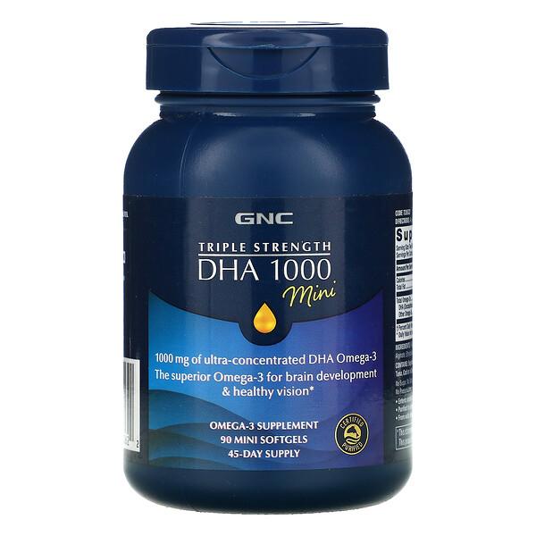 GNC, Triple Strength DHA 1000 Mini, 1,000 mg, 90 Mini Softgels
