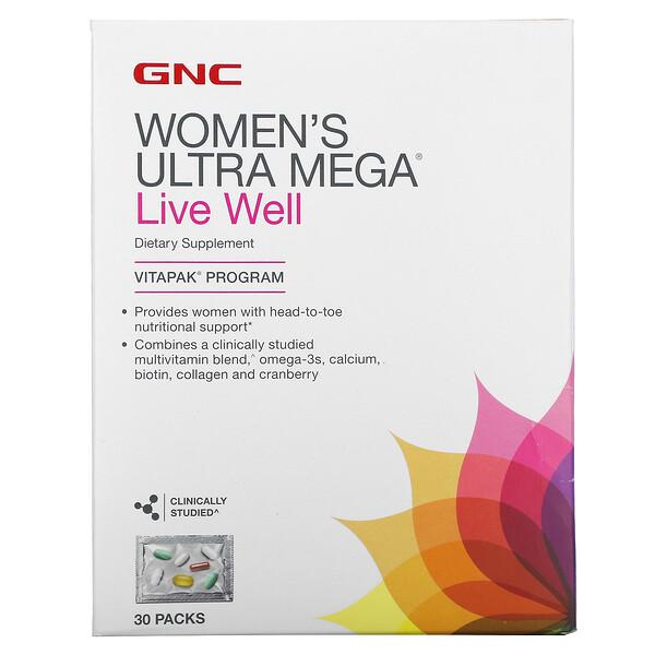 GNC, комплекс для женщин Ultra Mega, Live Well, 30 пакетиков