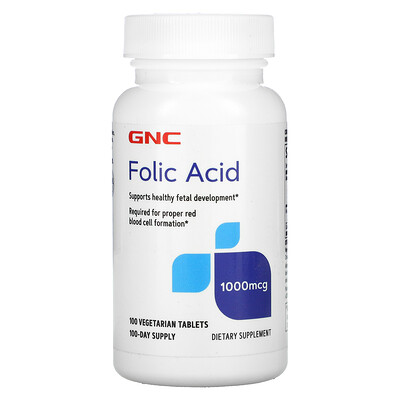 GNC Folic Acid , 1,000 mcg, 100 Vegetarian Tablets