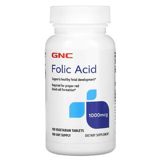 GNC, Folic Acid, 1,000 mcg, 100 Vegetarian Tablets