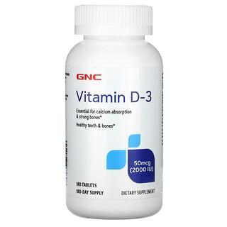GNC, Vitamin D-3, 50 mcg (2,000 IU), 180 Tablets