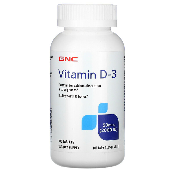Vitamin D-3, 50 mcg (2,000 IU), 180 Tablets
