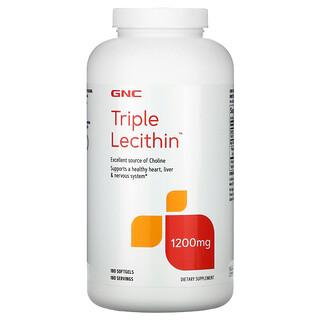GNC, лецитин тройного действия, 1200мг, 180капсул