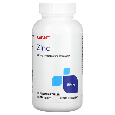 GNC Zinc, 50 mg, 250 Vegetarian Tablets