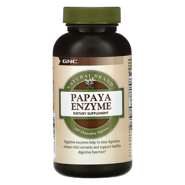 GNC, Natural Brand, ферменты папайи, 240жевательных таблеток