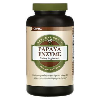 GNC, Natural Brand, Papaya Enzyme, 600 Chewable Tablets
