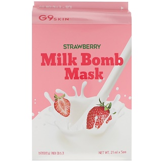 G9skin, Strawberry Milk Bomb Mask, 5 Masks, 21 ml Each