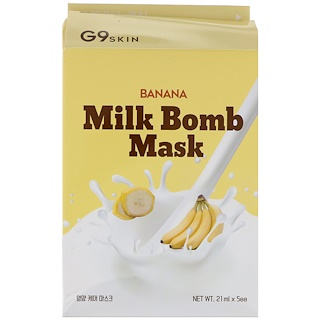 G9skin, Banana Milk Bomb Mask, 5 Masks, 21 ml Each